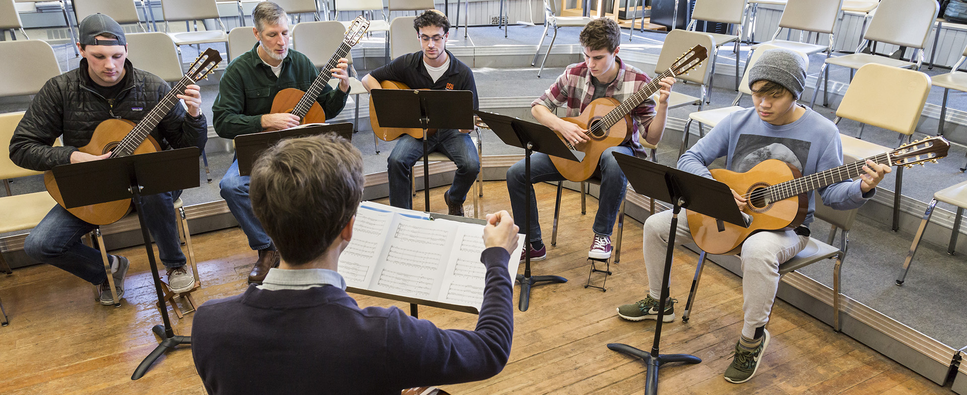 OSU guitar ensemble in rehearsal