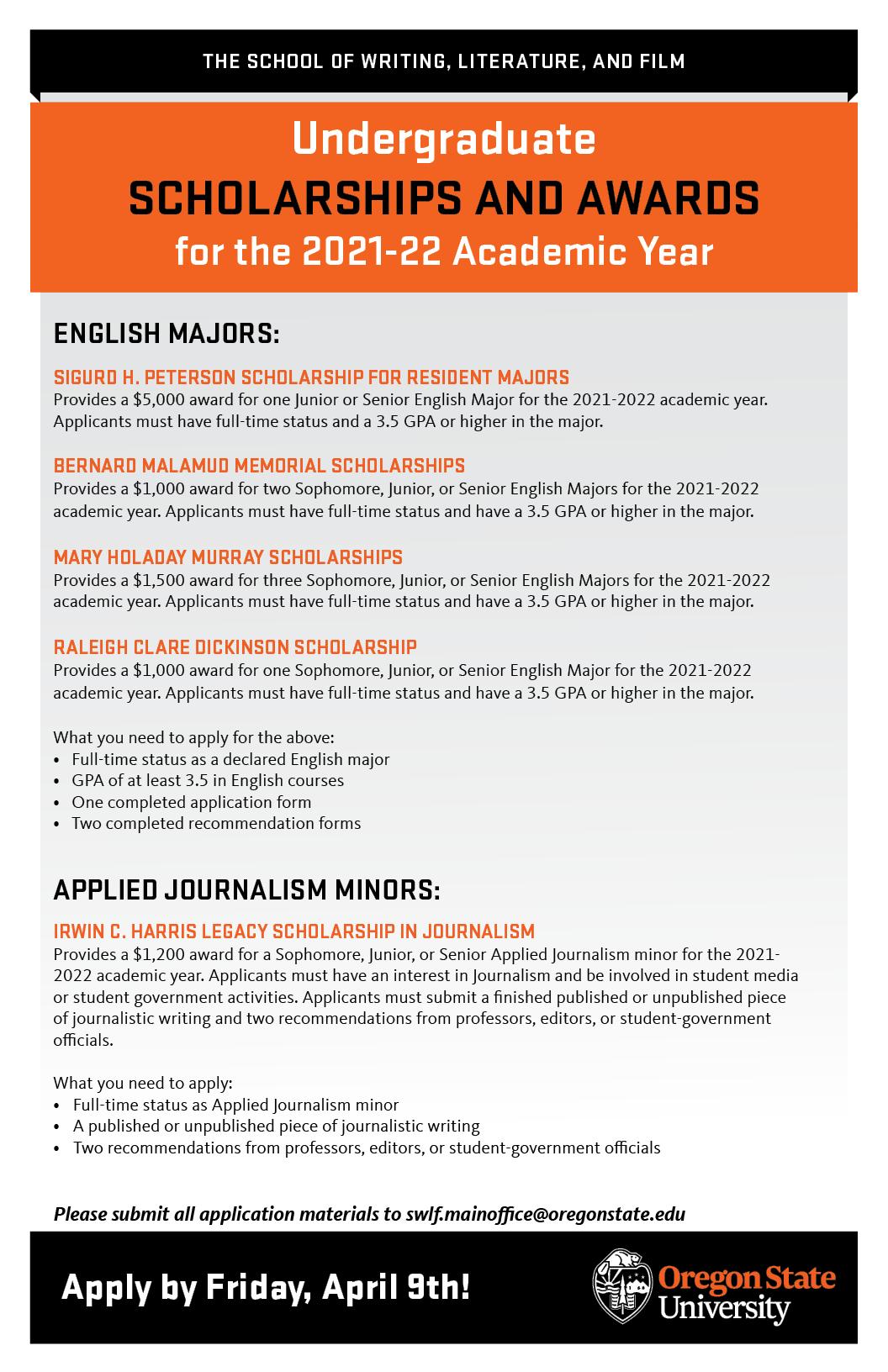 Osu 2022 Calendar.2021 2022 Scholarship Applications College Of Liberal Arts Oregon State University