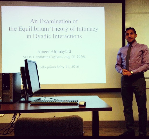 Graduate student presenting research