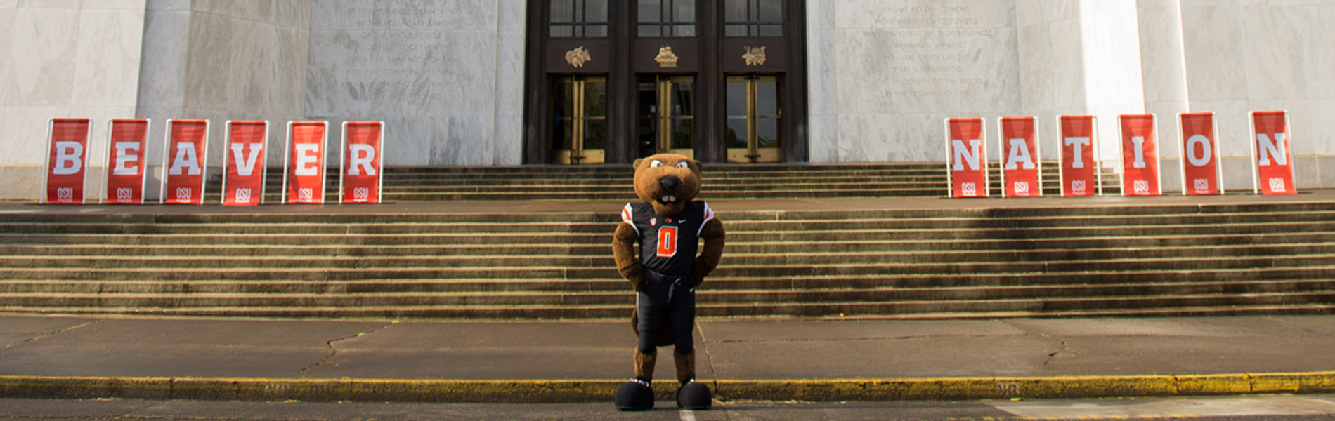 Benny the beaver standing on the Capitol Steps