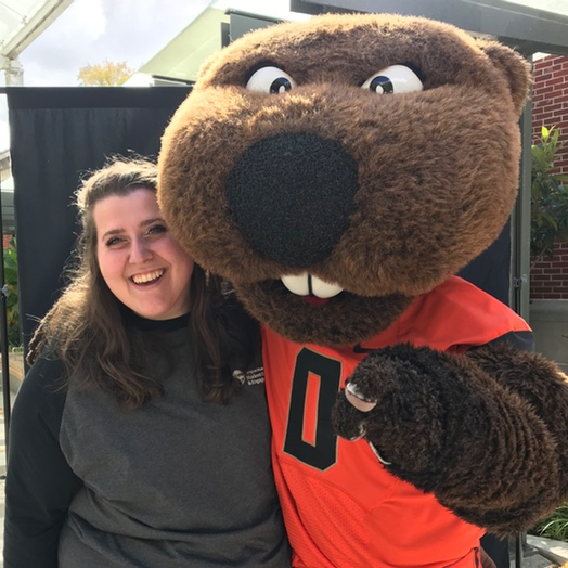 Annie Rose Tarter and Benny the Beaver