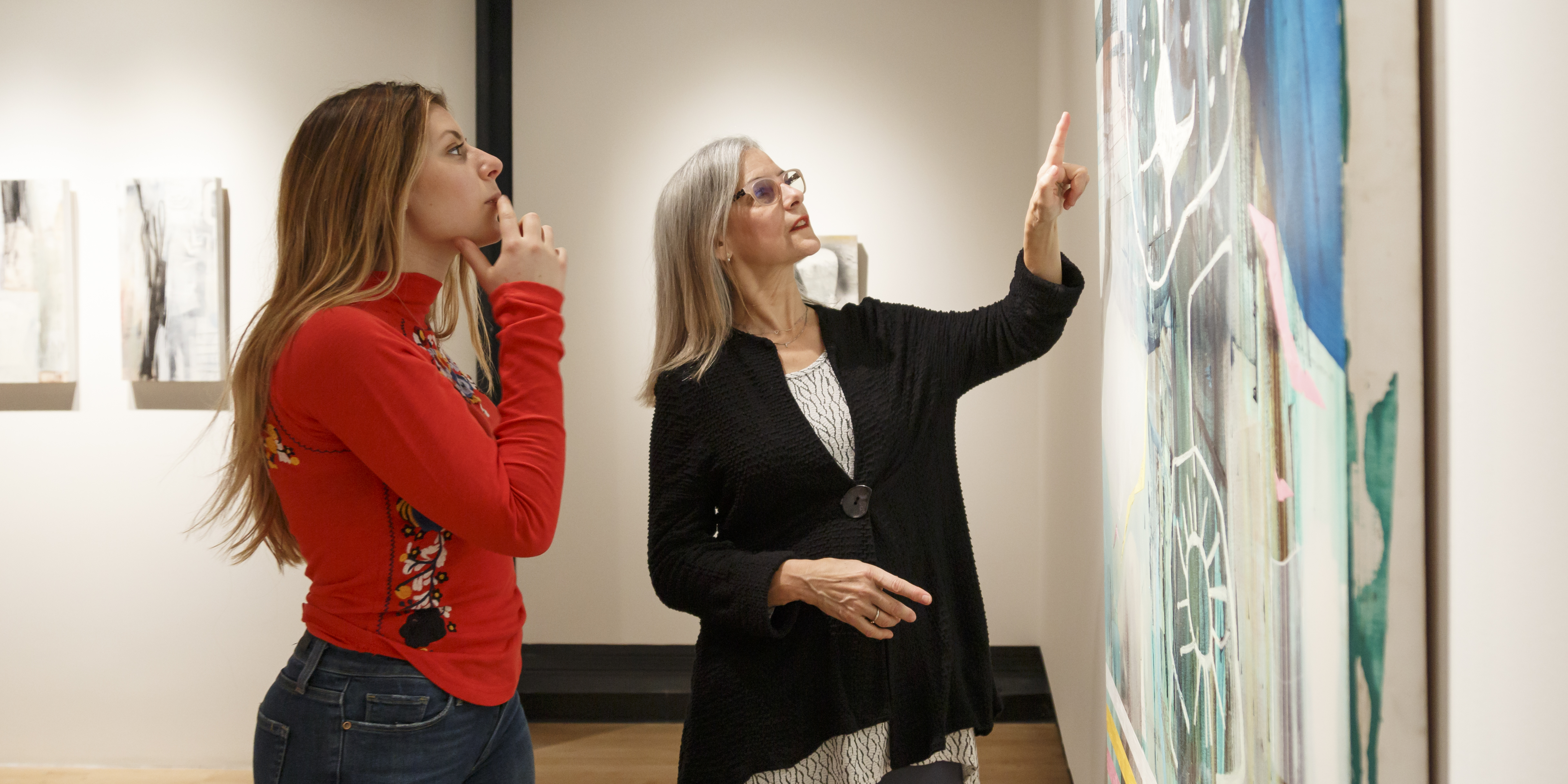 OSU Art Students Paris Myers (left) and Amy Gibson (right) find friendship, comfort and inspiration through peer relationship.