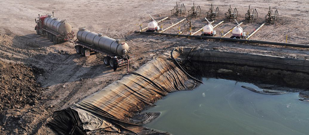 An large open pit of fracking waste water