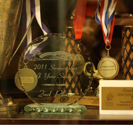 Forensics and Debate trophy case in Shepard Hall