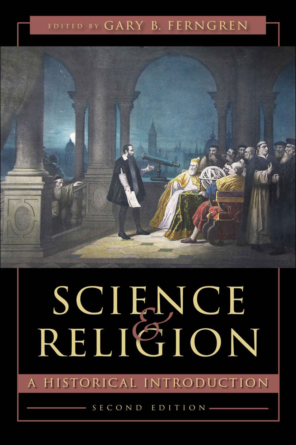 Science & Religion Book Cover is a painting of men with telescope & globe