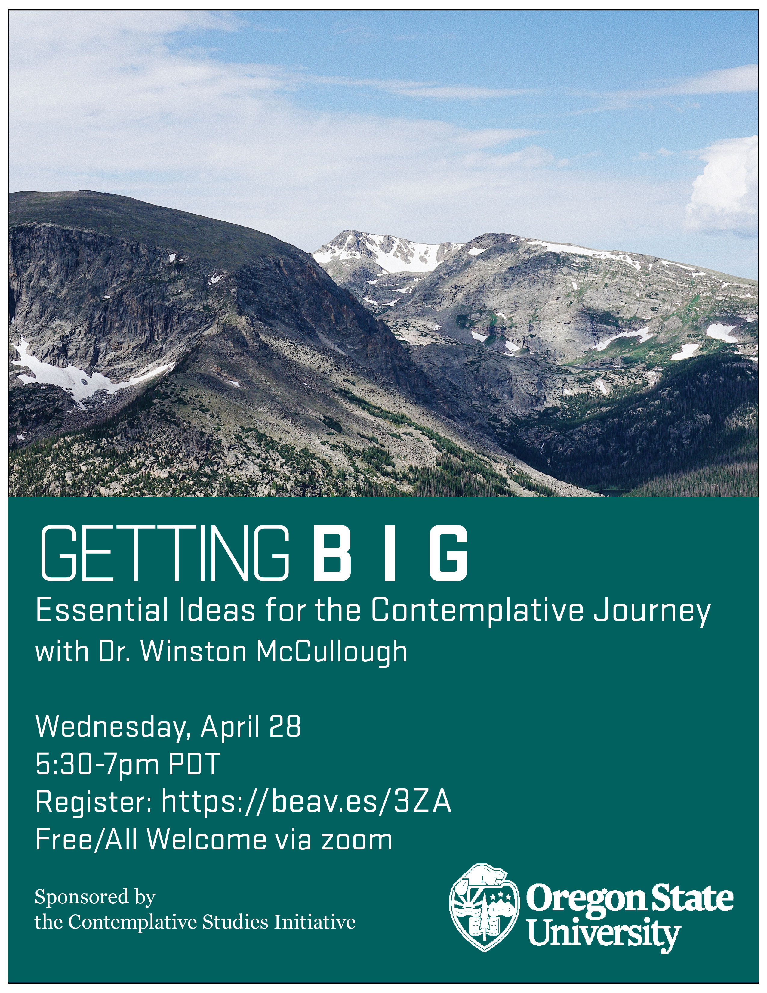 Getting Big Poster with Mountain image and event details