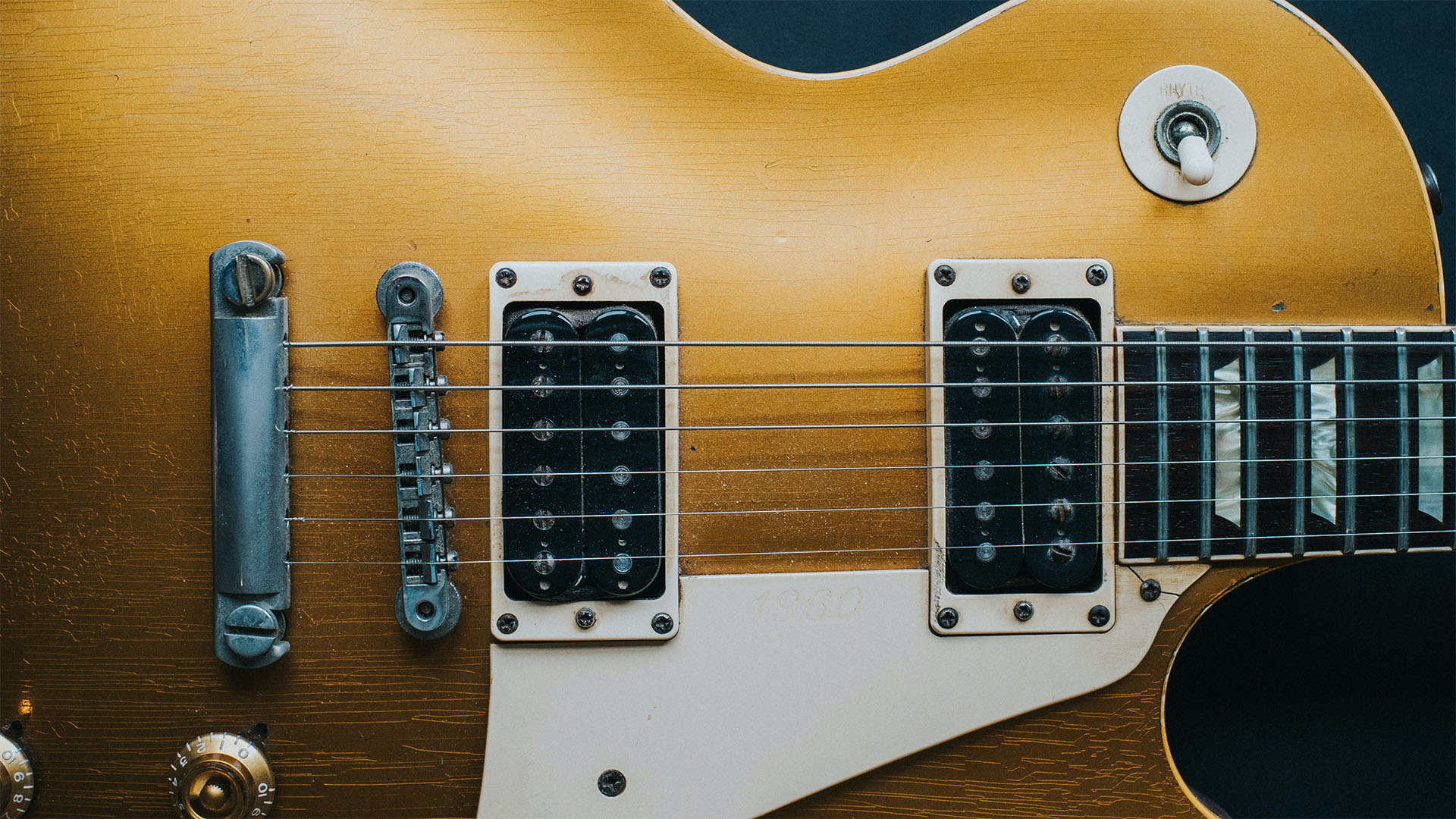 Close up detailed view of an electric guitar