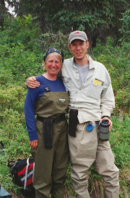 Kathleen Dean Moore with her son in Alaska.
