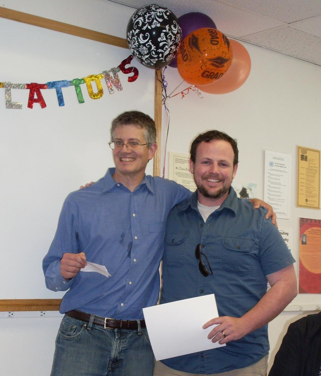 Professor Kaplan with 2012 Graduate Essay Winner Sean Creighton