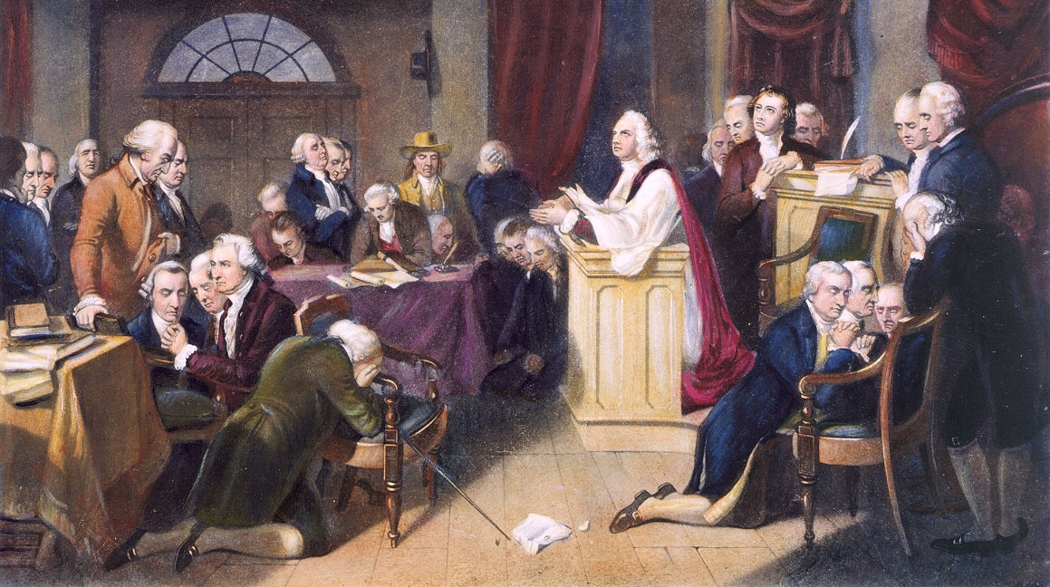 Chaplain Jacob Duché leading the first prayer in the First Continental Congress at Carpenter's Hall, Philadelphia, September 1774: