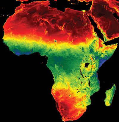 Africa's rain belt shows up as a green swath in this Meteosat-derived map of evapotranspiration. (Photo courtesy: EARS Earth Environment Monitoring Ltd, Delft, Netherlands)