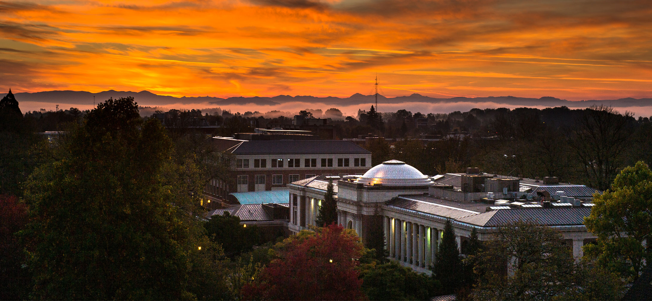 Photo of the OSU Memorial Union at Dusk