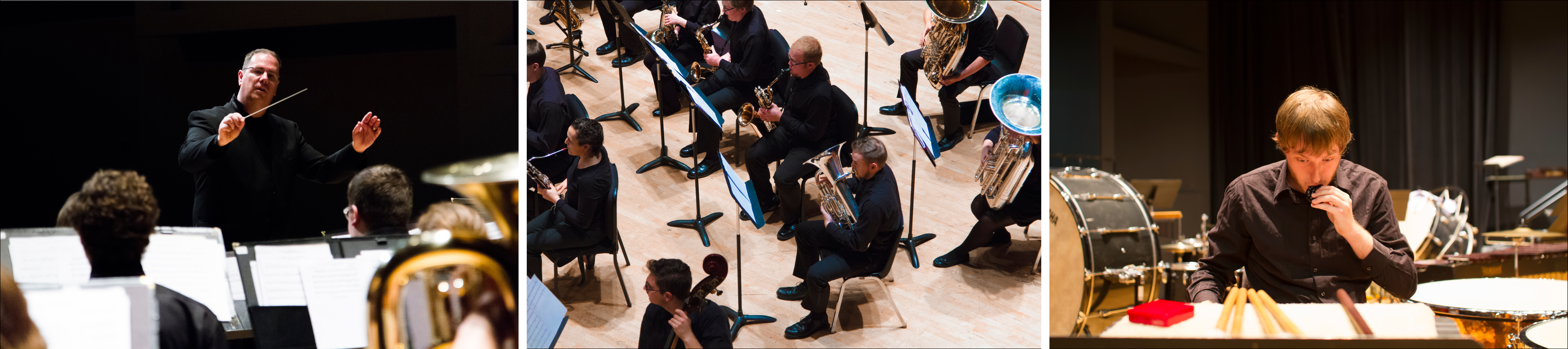 Three images of the OSU wind ensemble in performance.