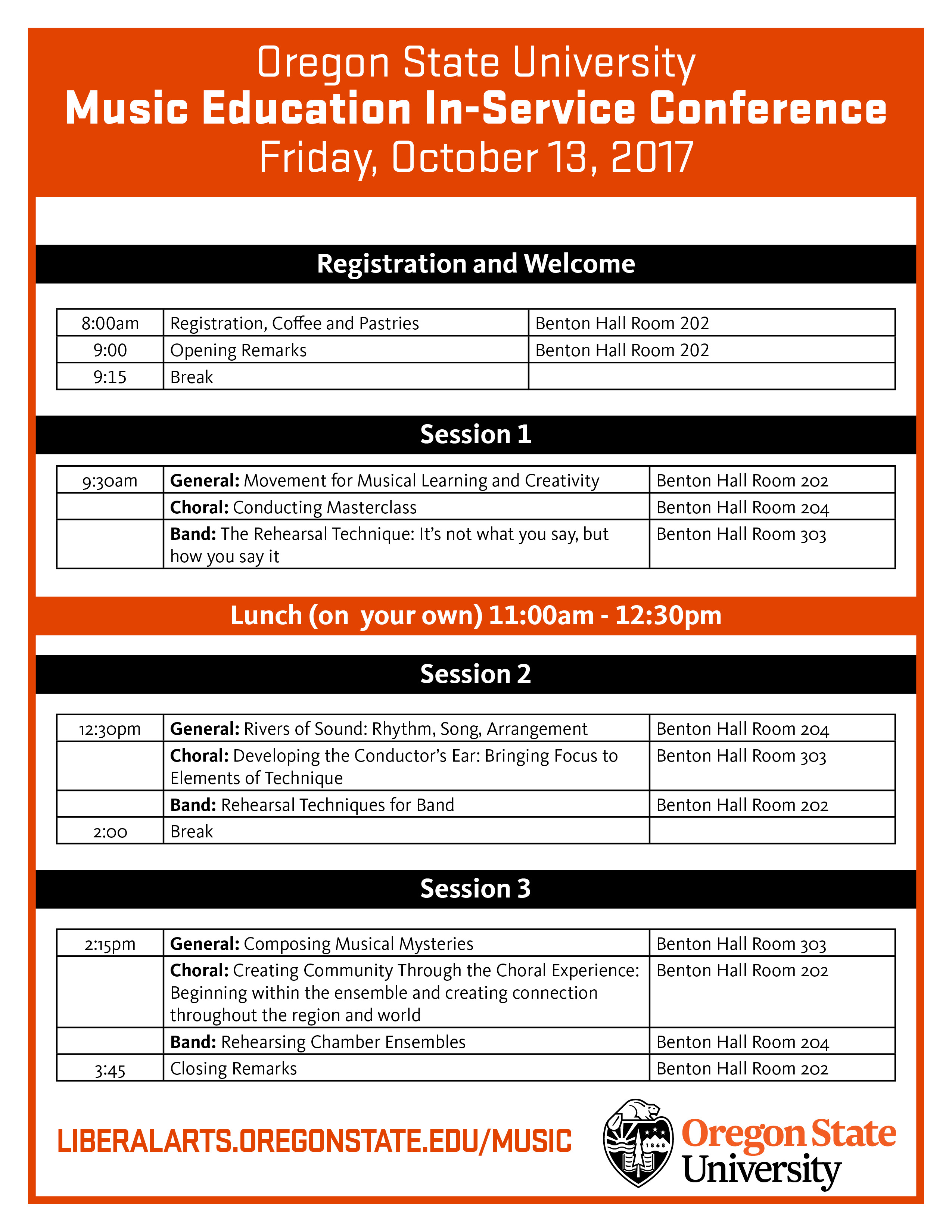 Music In-Service Conference Schedule