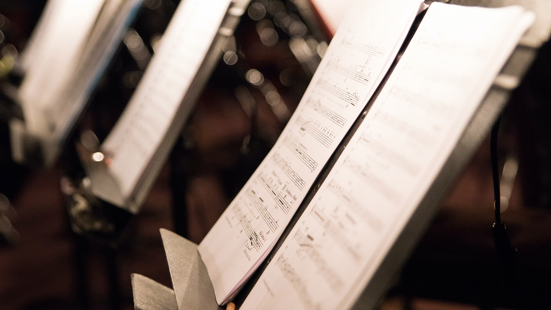Close up view of music stands