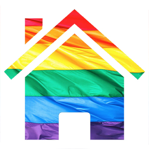 A house graphic in rainbow colors