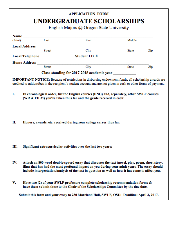 Scholarship Application Recommendation Form