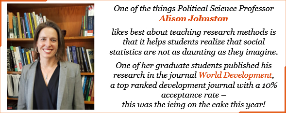 Political Science professor Allison Johnston