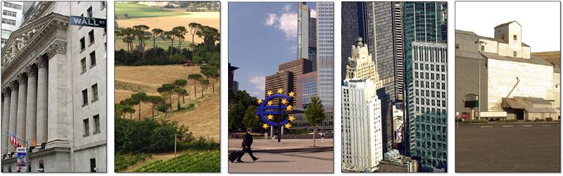 Iconic images of locations associated with American economic thought