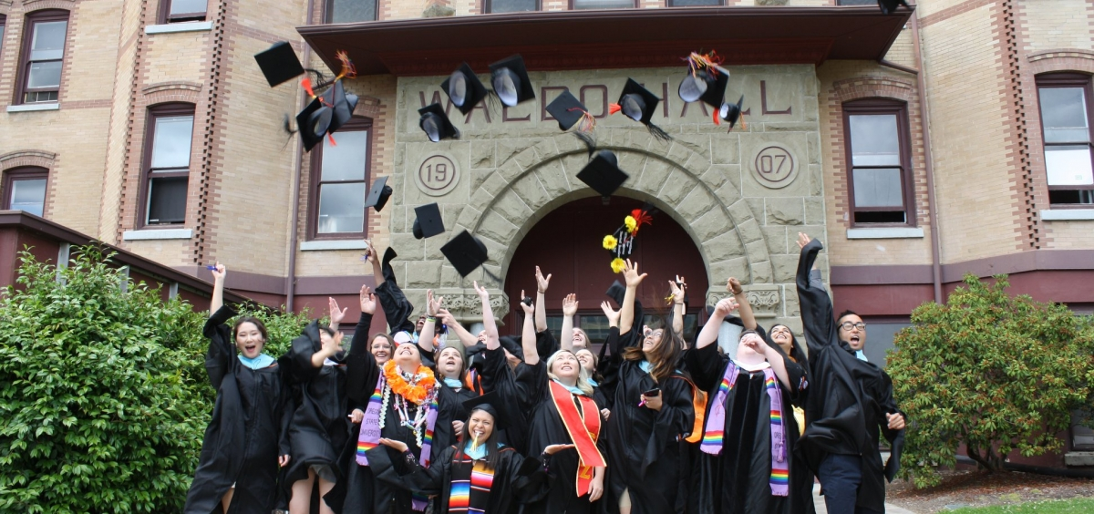 CSSA Class of 2018 tossing their caps at graduation ceremony