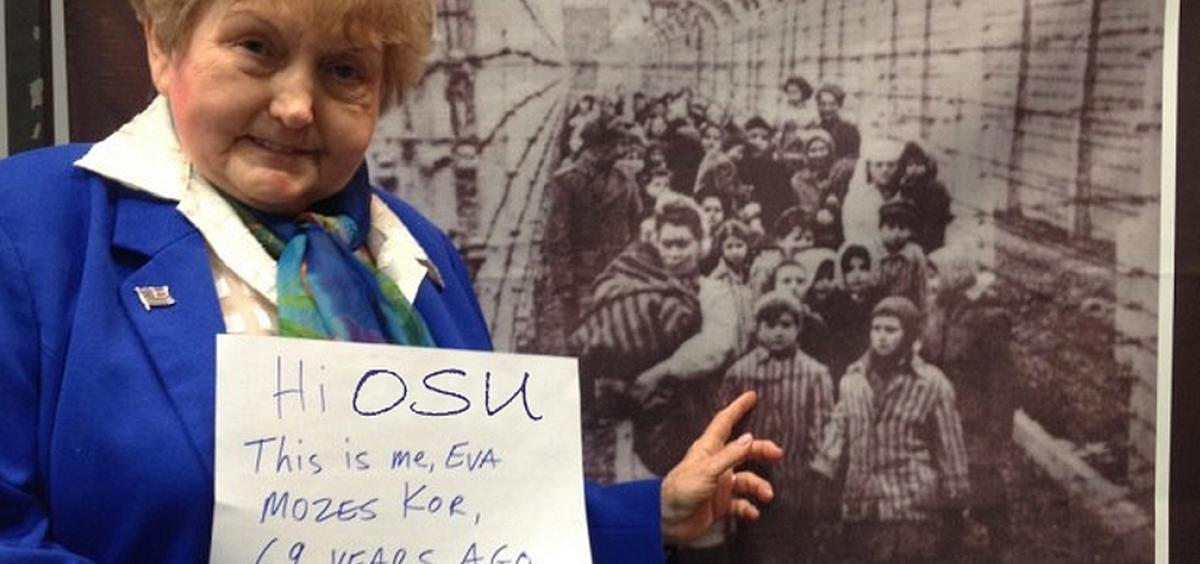 Eva Mozes Kor points out herself in a picture taken during the liberation of Auschwitz