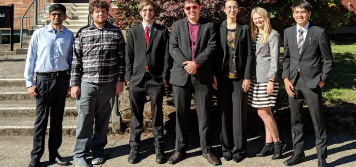 Group photo of the OSU Forensics Team at Lewis and Clark College