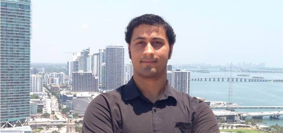 Photo of Alum Maanas Tripathi with city scape in background