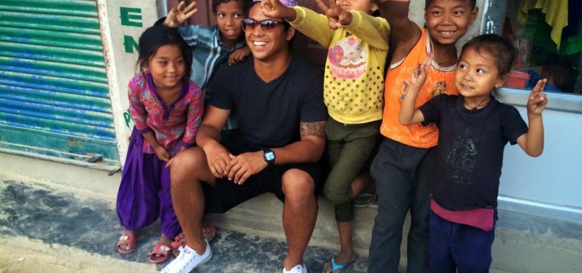 Nishioka with children