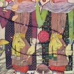 Painting of two people eating with food and plants around them and barbed wire.