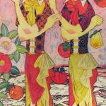 Painting of two women with flowers and fruit around them crossing arms with hands up.