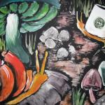 Vivid snail and mushroom painting, one snail has coffee cup for shell.