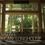 inside looking out of a window in the osu native american longhouse