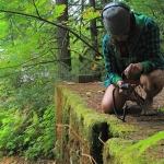 Lisa Schonberg recording sound in nature