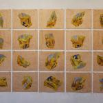 painting of a pretzel bag crumpled in different stages with in a grid