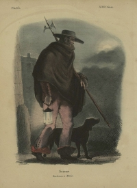 Print of a Watchman with lantern and dog