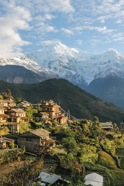 Houses overlooking mountain range Annapurna, Narchyang, Nepal