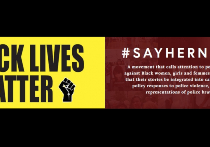 Black Lives Matter and Say Her Name Banner